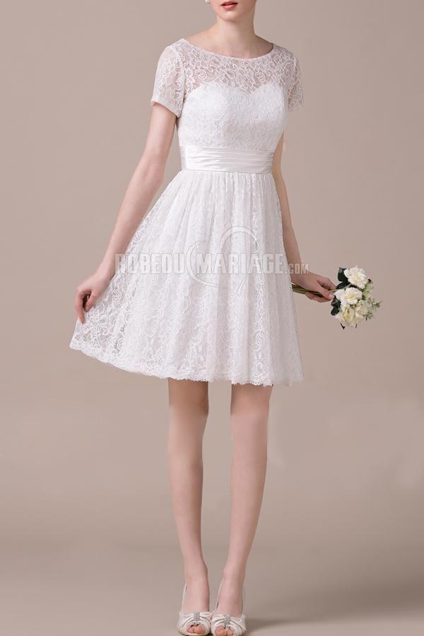 Robe de mariée civile courte dentelle col rond robe simple [#ROBE2010290] - robedumariage.com