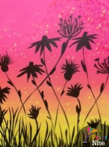 Pink with Dandelion Silhouettes - www.paintnite.com - #PaintNite #Art #Create