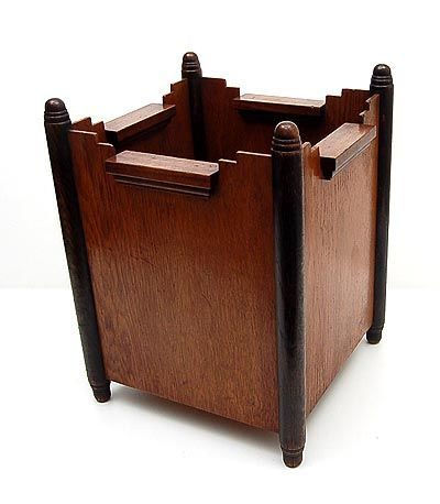 Wooden Amsterdamse School paperbasket design execution unknown the Netherlands ca.1925