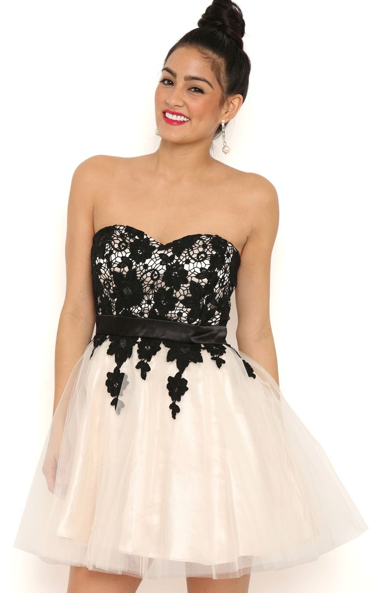 Deb Shops Sweetheart Strapless Lace Dress with Ballerina Skirt $50.70