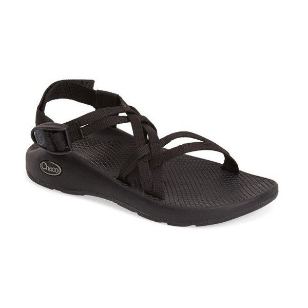 Chaco 'ZX1 Yampa' Double Strap Sport Sandal ($105) ❤ liked on Polyvore featuring shoes, sandals, black, black strappy shoes, strappy sandals, black strap sandals, chaco shoes and adjustable strap sandals
