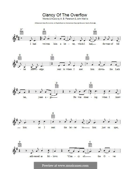 Clancy of the Overflow by J. Wallis - sheet music on MusicaNeo