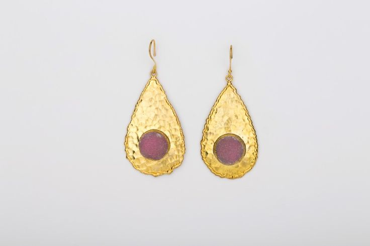 Drop in the Ocean Earrings_Calcedony - Gold plated