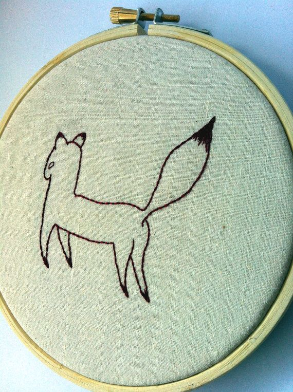 Fabian Foxicle Embroidered Hoop Art by QuirkeryStitchery on Etsy