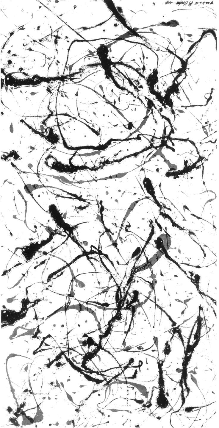 Abstract monochrome surface pattern design - painterly prints; splashed paint // Jackson Pollock