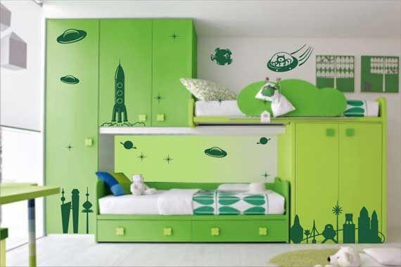 green girl UFO bedroom - love the theme and bunk beds!: Kid Bedrooms, Green, Modern Kids Bedroom, Baby Room, Space, Kids Rooms, Bedroom Ideas