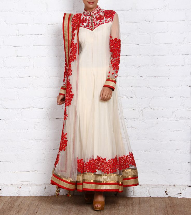 Off White & Net Anarkali with Resham Work