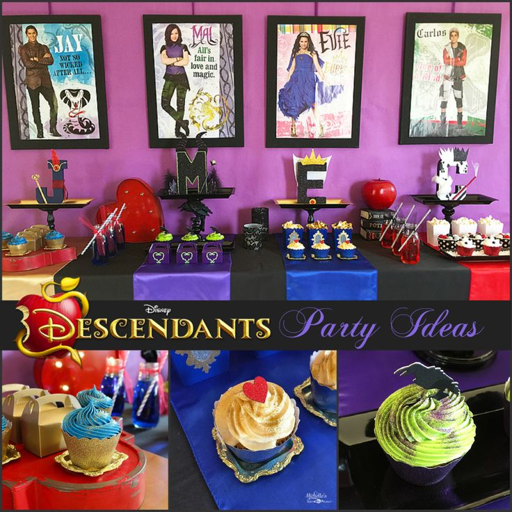Descendants Watch Party - Party tips and ideas for a Disney Descendants watch party! Perfect for Halloween parties too! Come see all the Villainous details! #ad #Disney #VillainDescendants