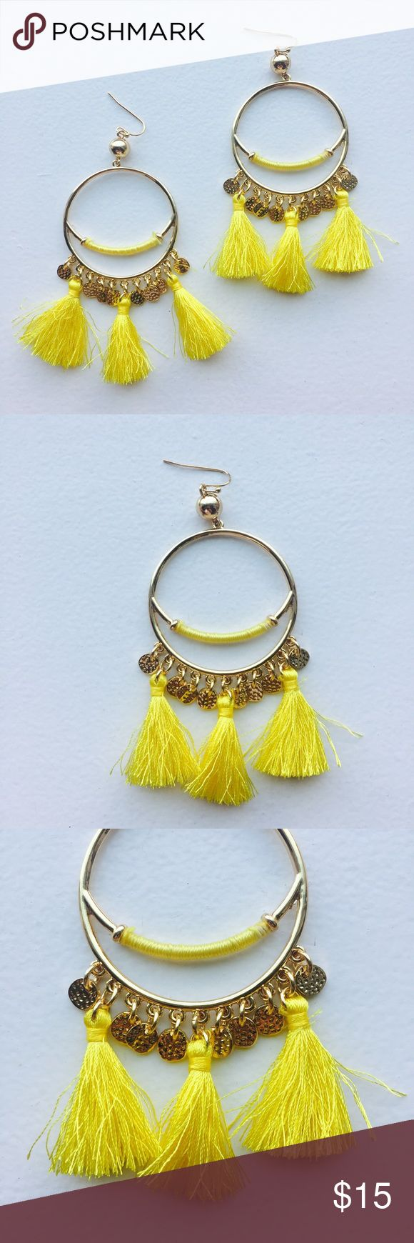 Yellow tassel earrings Yellow Chandelier tassel earrings. It has tiny medallions.  Love the vibrant yellow color of the tassel and the threading. The Great statement piece. Boho style. Brand new. Jewelry Earrings