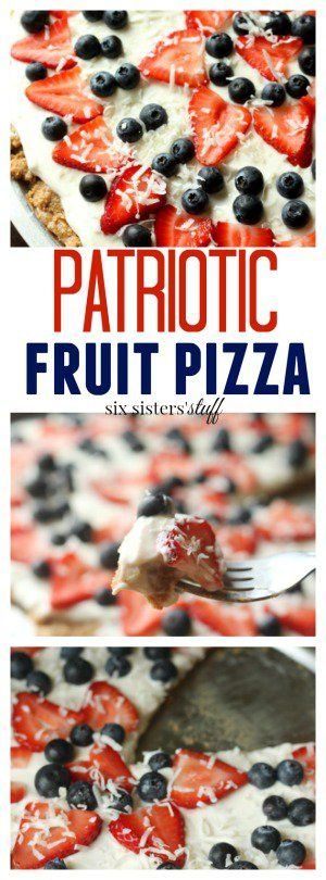 Patriotic Fruit Pizza Recipe from SixSistersStuff.com | 4th of July Desserts | Red, White and Blue Treat Ideas | Summer Dessert