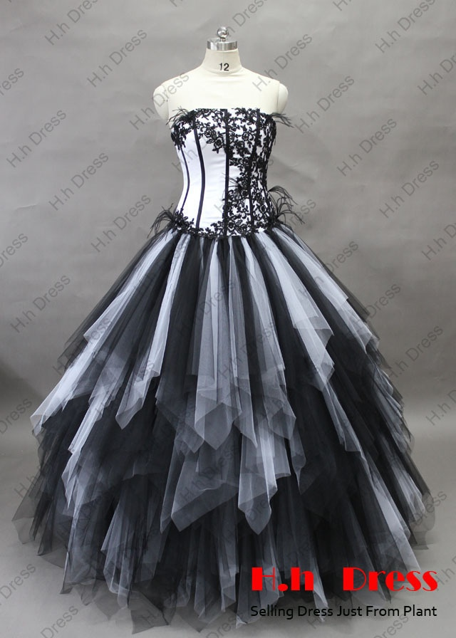Sexy Black White Tulle Quinceanera Dresses Prom Ball Gowns Bridal Wedding Dress   eBay