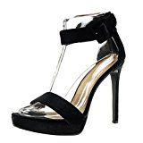 #1: Angkorly - Zapatillas de Moda Tacón escarpín Sandalias stiletto Correa de tobillo zapatillas de plataforma mujer Hebilla Talón Tacón de aguja alto 13 CM - Negro