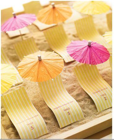 DIY Beach Lounge Escort Cards posted @ IDOJOUR.COM via Martha Stuart #meocuencaIDEA - 1: girls names 2: you were invited because... & cocktail parasol