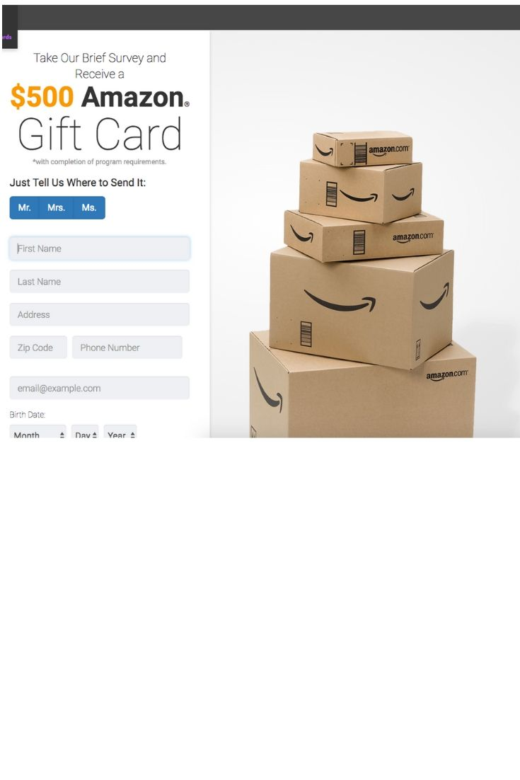 Take Our Brief Survey And Receive A 500 Amazon Gift Card Amazon Gifts Amazon Gift Cards Gift Card