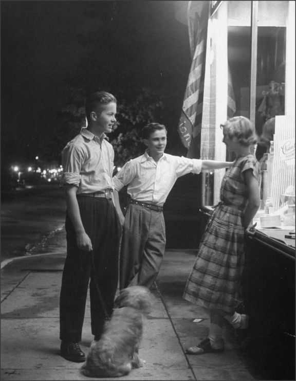 Teens, 1948    Teenagers on an evening walk bump into a pretty girl from school