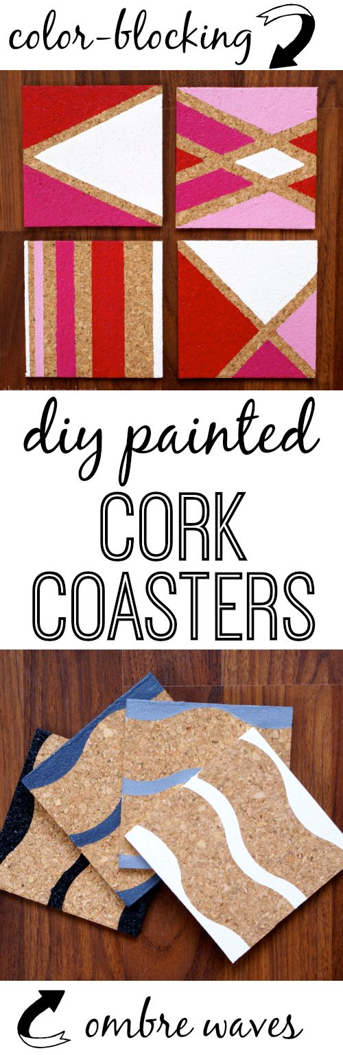 Such an easy and inexpensive gift idea: painted cork coasters!
