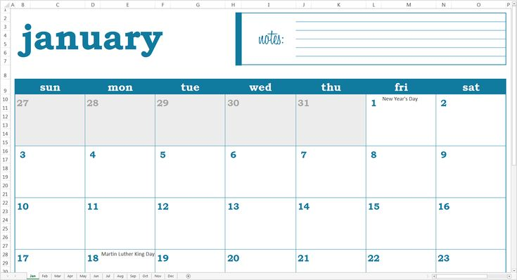 Easy Event Calendar 2016 Excel Template - Screen View - Jan Tab