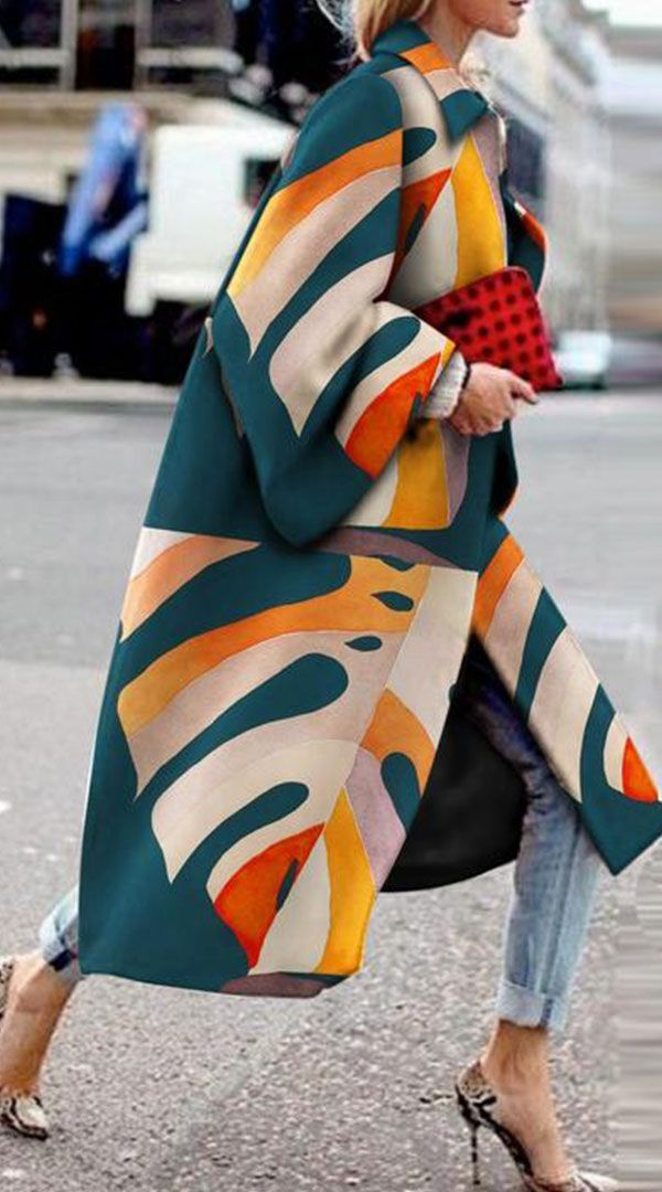 fashion printed trench color coat mode druckmuster mantel