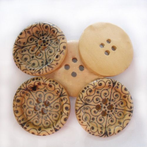 Round Painted 4-hole Basic Sewing Button, Wooden Buttons, Colorf