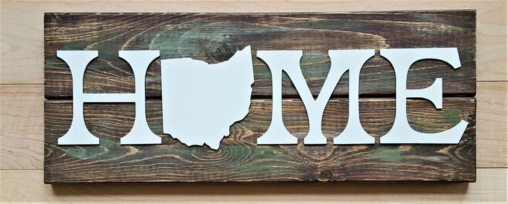 Rustic Ohio Home Family Magnolia Fixer Upper Farmhouse Weathered wood Barn Paint Metal Decor Indoor House Home Wall art House Planks State by KindredMetalDesign on Etsy