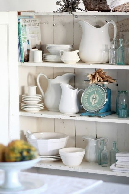 French Farmhouse Style - Aqua pops, endless whites...