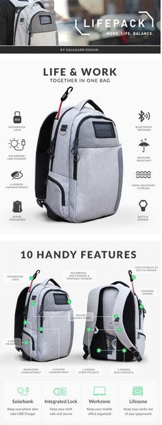 Lifepack: Solar Powered & Anti-Theft Backpack by Solgaard Design — Kickstarter http://amzn.to/2rsjy6P