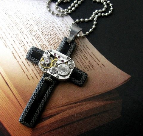 Kříž steampunk náhrdelník přívěsek hodinky steampunk počítač základní deska comuter