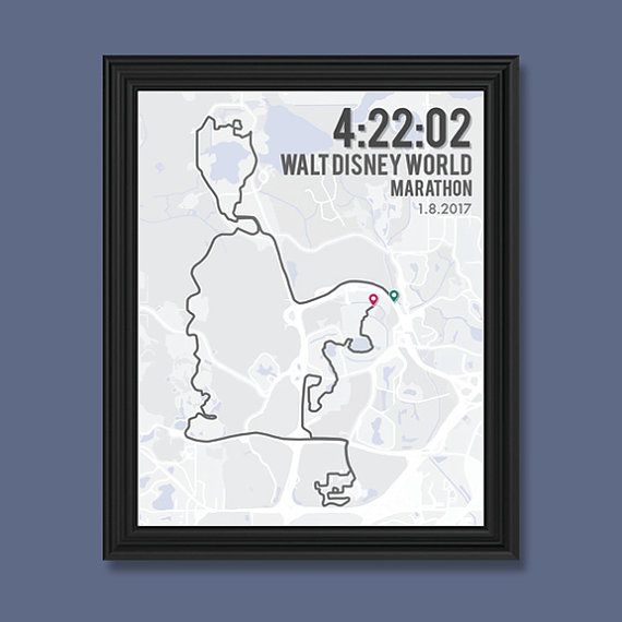 Walt Disney World Marathon Print   Customizable   Running Wall Decor