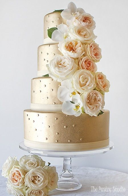 elegant gold metallic wedding cake with blush florals by the pastry studio