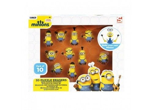 Despicable Me Minions Pack of 10 3D Puzzle Erasers - http://tidd.ly/678d763e