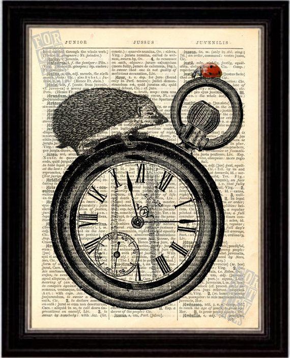 Ladybug and Hedgehog on Watch Print on Upcycled 1896 Latin English Dictionary Page on Etsy, $8.00