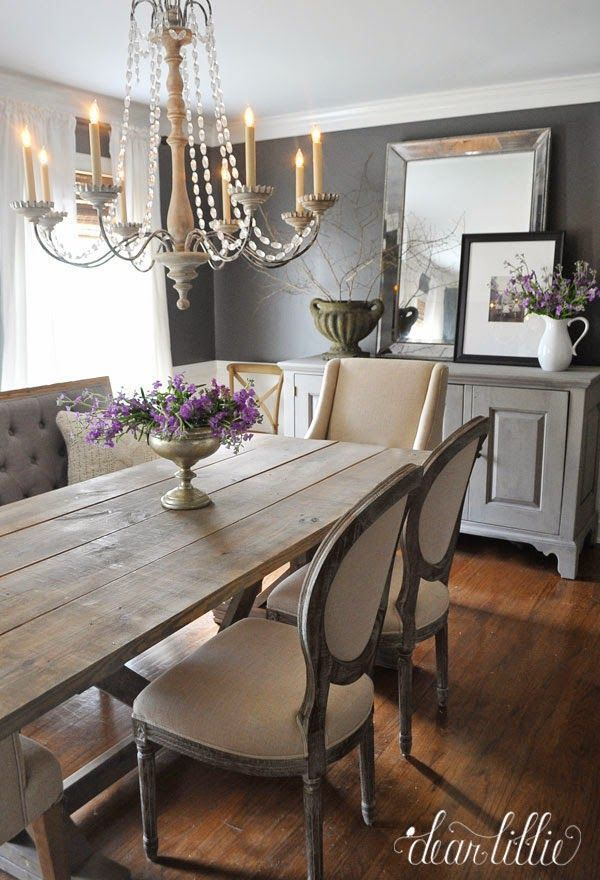 Elegant dining room with both traditional and rustic elements. Labor Junction / Home Improvement / House Projects / Dining Room / Rustic / House Remodels / www.laborjunction.com