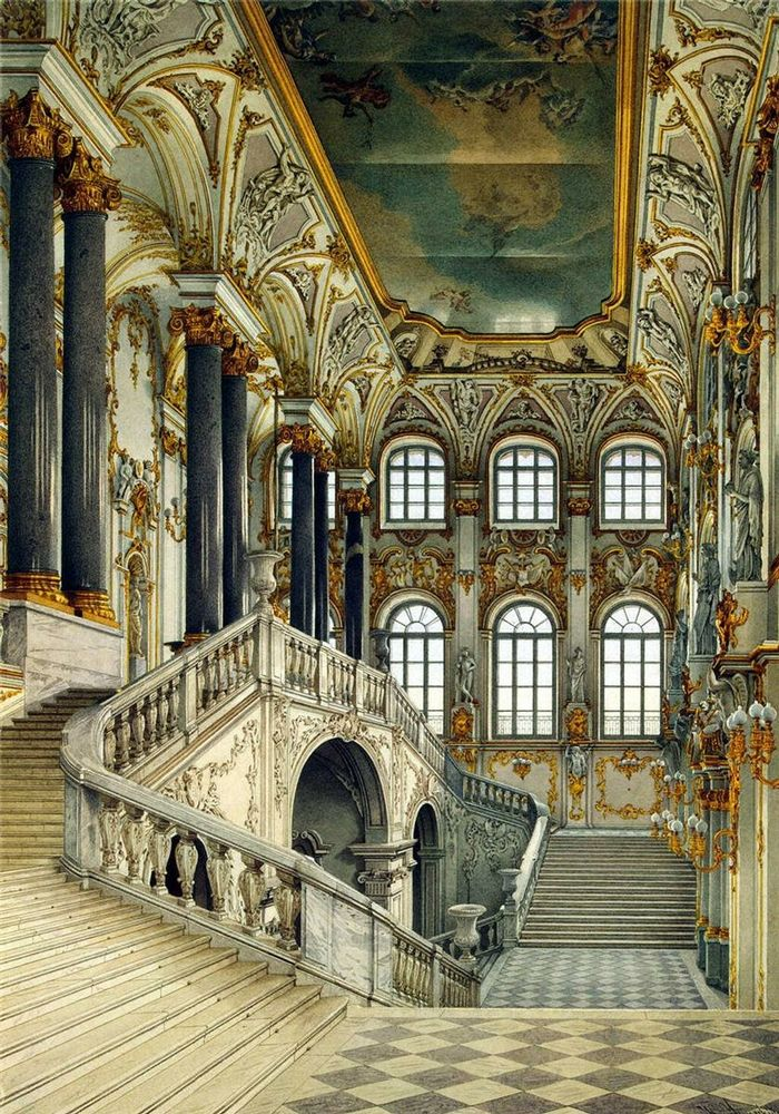 Photorealistic visual of the opulent grand staircase of Winter Palace in St. Petersburg, captured in watercolour by artist Konstantin Ukhtomsky in the 18th century