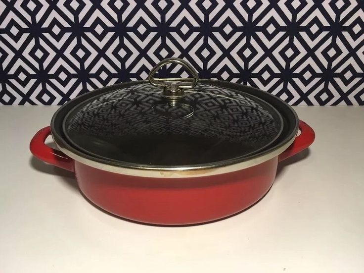 Hard to Find Chantal Covered Sauté Casserole Pan Roaster Chili Red Enamel 9 3 4 | eBay