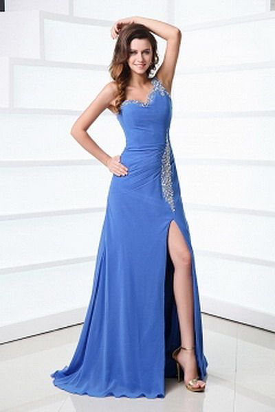 One-shoulder Organza Blue Prom Dresses - Order Link: http://www.thebridalgowns.com/one-shoulder-organza-blue-prom-dresses-tbg6741 - SILHOUETTE: A-Line; SLEEVE: Sleeveless; LENGTH: Sweep/Brush Train; FABRIC: Organza; EMBELLISHMENTS: Crystal , Draped , Tiered ,  - Price: 176USD