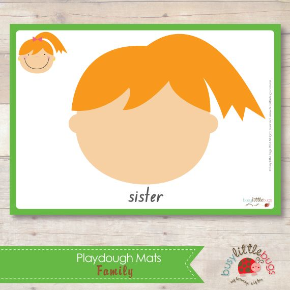 Family Playdough Mats 20 printable mats all about family members
