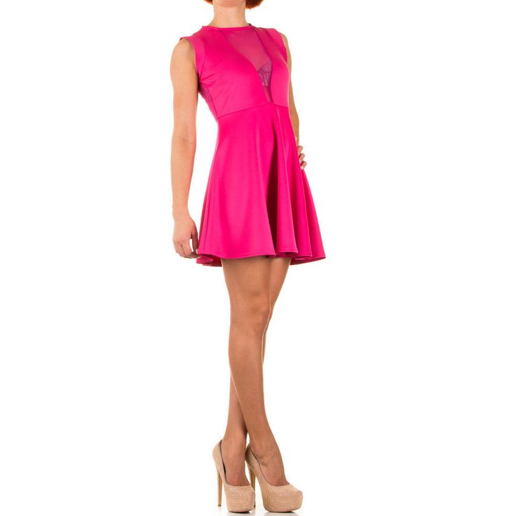 Kleid Damen kd0855 SEXY ABENDKLEID COCKTAILKLEID PARTY Rosa Einheitsgröße XS-L