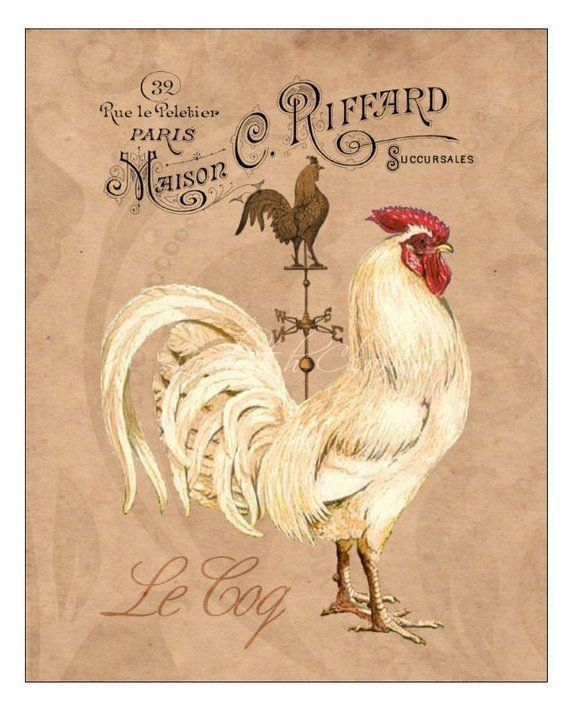 French Country Rooster Art Print Rooster Kitchen Decor Etsy