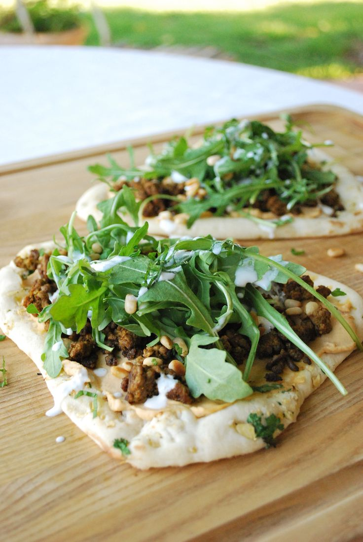 Lamb Flatbread with Feta Yogurt Sauce: These lamb flatbreads are a fun and delicious way to step up your pizza night game!