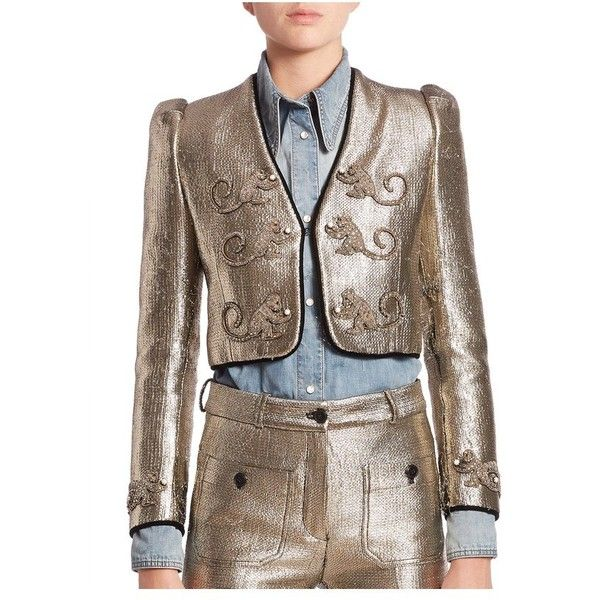 Roberto Cavalli Gold Lamé Embroidered Monkey Jacket ($1,876) ❤ liked on Polyvore featuring outerwear, jackets, evening, gold lame, metallic jackets, embroidered jacket, monkey jacket, gold metallic jacket and cropped jacket