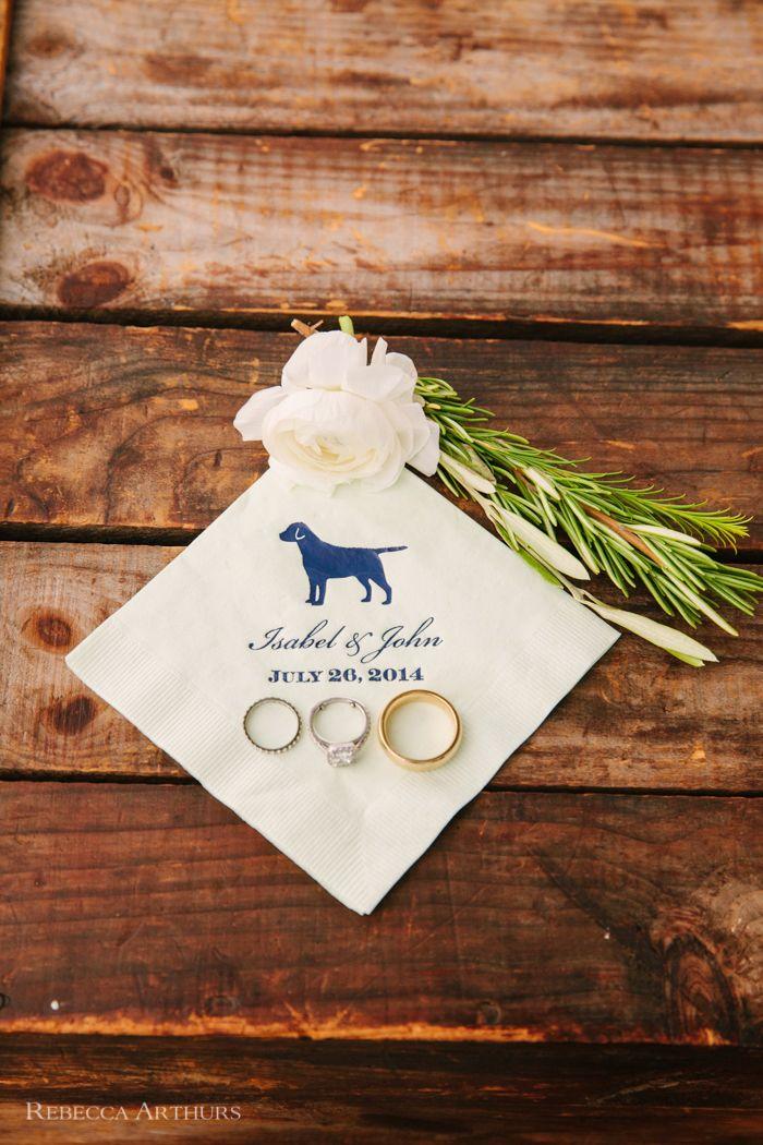 Dog napkins for wedding cocktail hour :: Castle Hill Inn Wedding photo by Rebecca Arthurs