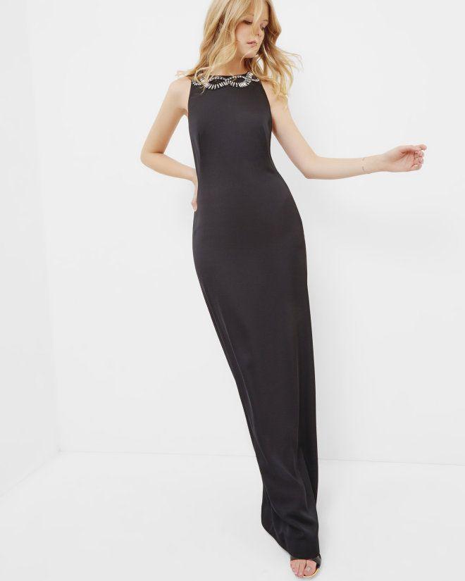 Robe longue ornée avec dos décolleté - Noir | robes | Ted Baker FR