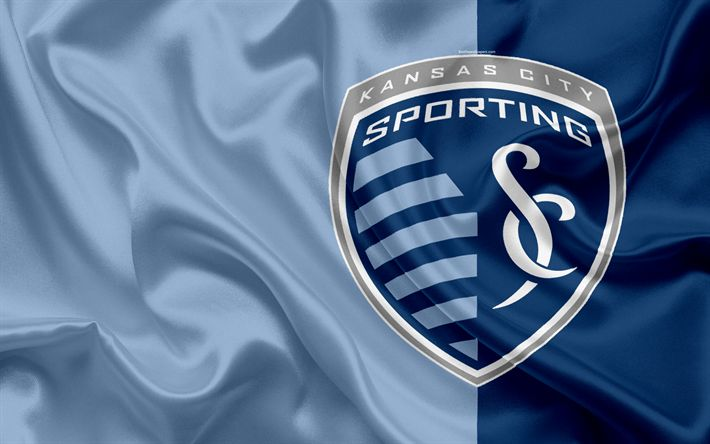 Download wallpapers Sporting Kansas City FC, American Football Club, MLS, Major League Soccer, emblem, logo, silk flag, Kansas City, Missouri, USA, football
