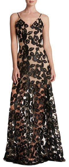 Women's Dress The Population Florence Soutache Lace Fit & Flare Gown- Black Tie Wedding Guest Dress Idea - Prom Dress Ideas