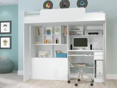 Módulo Office Teen com Cama Solteiro - Escrivaninha 2 Gavetas - Santos Andirá com as melhores condições você encontra no Magazine Siarra. Confira!