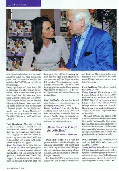 LOHAS TALK mit Hademar Bankhofer MR.GESUNDHEIT und Konny Slperling  aus meiner ehemaligen Zeitung LA VISTA! (hier die 2. Seite des Artikels)
