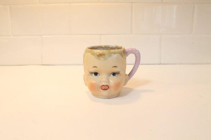 Doll Head Mug, Face Ceramic Mug Cup, Shafford Mug, Ceramic Mug by ClockworkRummage on Etsy