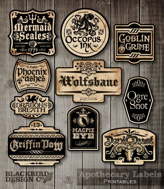 Apothecary Labels Halloween Labels Digital by BlackBirdsDesigns