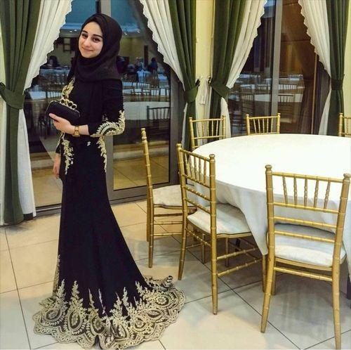 Pinterest: @eighthhorcruxx. Black and gold abaya for formal wear
