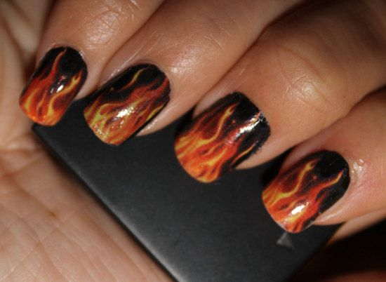 REAL FLAMES Full Nail Decals  Harley Motorcycle  by NorthofSalem, $7.99
